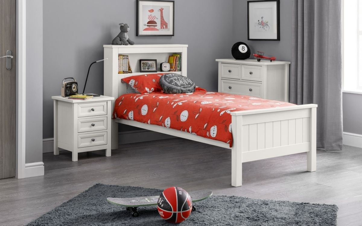 Maine 90 Bed With Bookcase In Surf White
