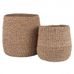 S/2 Woven Natural Seagrass Tapered Baskets